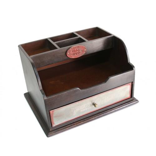 Caja de madera organizador escritorio con caj n met lico regalo para el - Organizadores escritorio ...