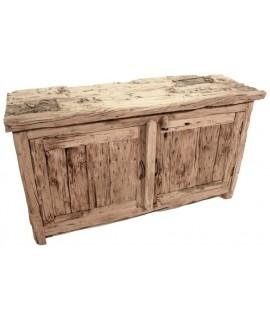 Console en bois massif pièce vieillie style rustique unique