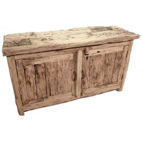 Consola de madera maciza envejecida. Medidas totales: 66x43x120 cm.