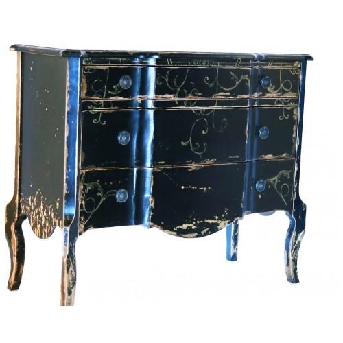 Commode vieillie noire en noir avec trois tiroirs