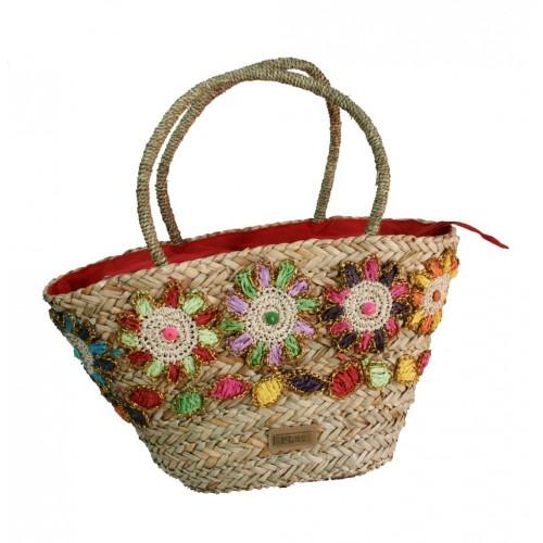 Bolso capazo con adorno frontal multicolor un bolso de playa de verano
