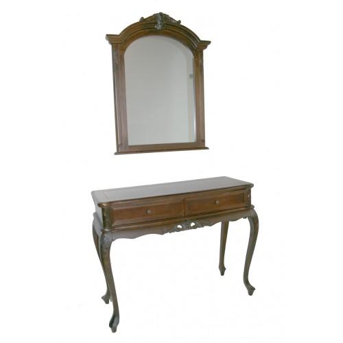 Conjunto de recibidor y espejo de madera con talla de estilo clásico