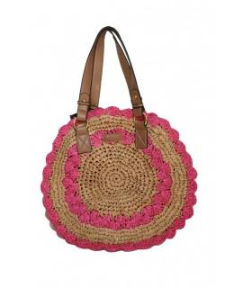 Bolso de rafia redondo color rosa con forro interior asa de cuero