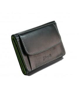 Petit portefeuille en cuir M. Bovine de couleur noire à l'intérieur du porte-cartes en couleur verte