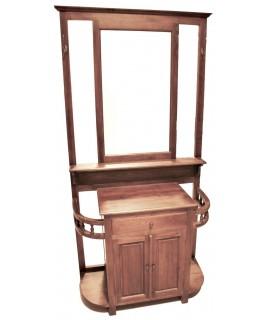 Recibidor de madera de teca maciza con paragueros i puerta central Ambiente rústico.