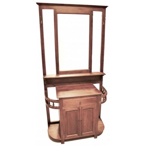 Rebedor de fusta de teca massissa amb Paraiguers i porta central Ambient rústic.