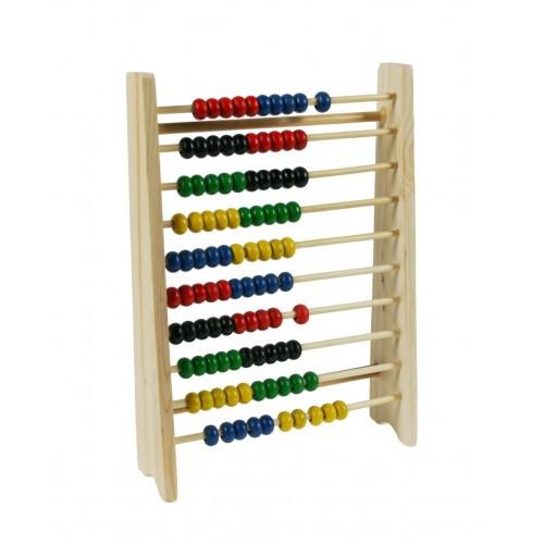 Ábaco de madera colorida de diez filas para realizar matemáticas