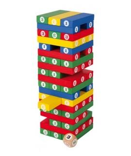 Torre de números de madera. Medidas: 23x7,5x7,5 cm.