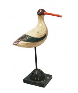 Figura decorativa gaviota blanca de madera maciza con pedestal. Medidas: 35x12x22 cm.