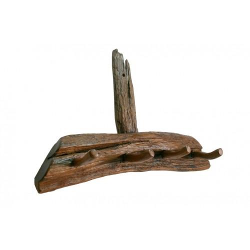 Colgador en madera maciza de teca muy rustico de diseño primitivo