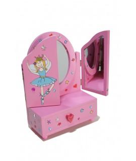 Tocador rosa para muñecas