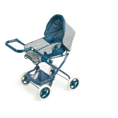 Cochecito de muñecas diseño actual de color azul con bolsa i canasta
