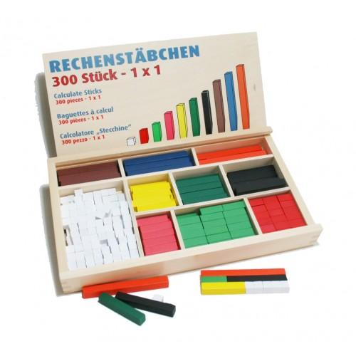 Caja de madera con barritas de cálculo. Medidas: 32x18x4 cm.