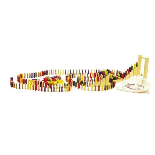 Bolsa de tela con fichas de dominó de madera para jugar