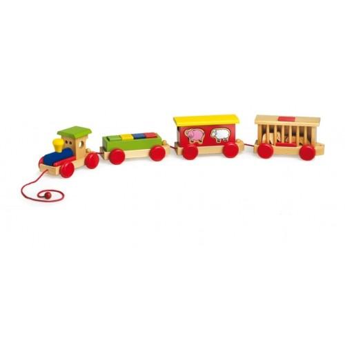 Tren madera de bloques y animales en vagones