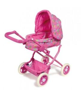 Cochecito de muñecas diseño actual de color rosa con bolsa i canasta