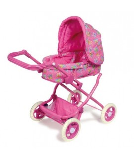 Cotxet de Nines Luxe de color rosa. Mides totals: 90x44x70 cm.