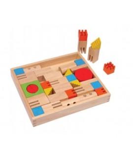 Caixa construcció de fusta per a desenvolupar la creativitat infantil