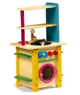 Cocina de juguete de madera para niños y niñas. Medidas totales: 50x26x26 cm.