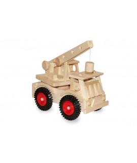 Camió grua de fusta amb rodes de goma