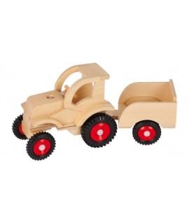 Tractor articulado de madera con remolque. Medidas: 14x27x10 cm.