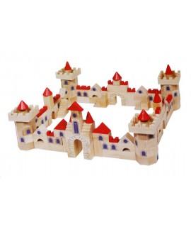 Casse-tête boîte de construction de château en bois multicolore