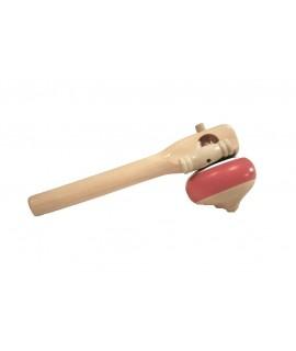 Baldufa de fusta de faig amb mànec. Mesures: 19xØ5,5 cm.