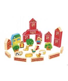 Cub de Construcció granja en fusta acolorida joguina de creativitat