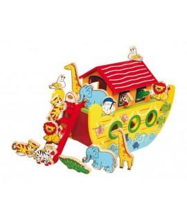 Grand jouet traditionnel en bois avec accessoires de l'arche de Noé