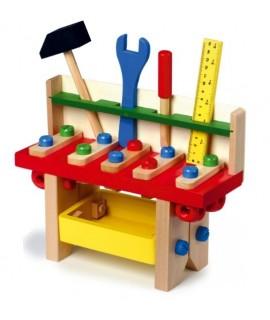 Banc petit de treball en fusta amb eines per joc infantil