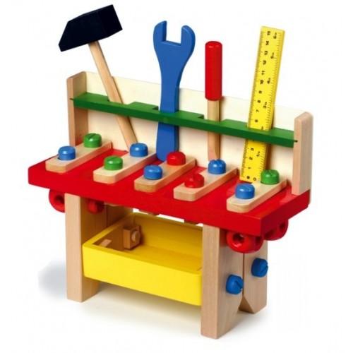 Banco pequeño de trabajo en madera con herramientas para juego infantil