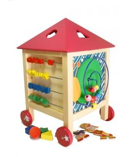 Maison en bois active pour nourrissons avec accessoires moteurs