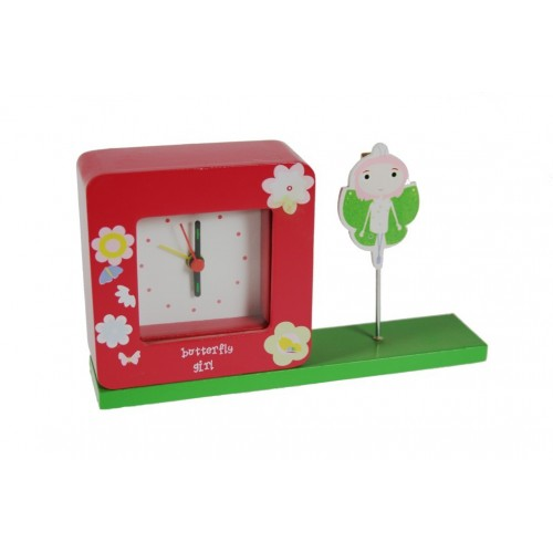 Reloj despertador infantil con porta notas. Medidas:12x20x5 cm.