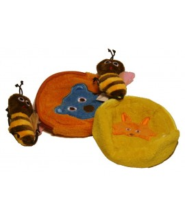 Monedero infantil de ropa felpudo con cierre cremallera y abeja
