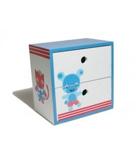 Caja joyero con cajones. Medidas: 12x12x8 cm.