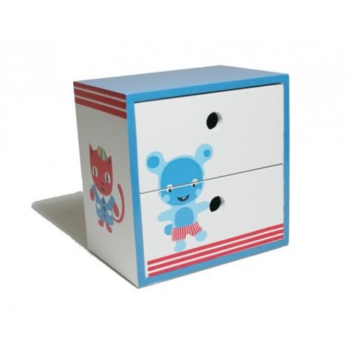 Caja joyero de madera con dos cajoncitos pintados con - Caja joyero ikea ...