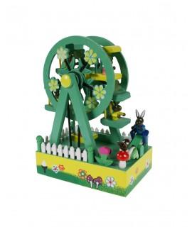 Caja de música noria de madera juguete musical de cuerda regalo de fiesta cumpleaños para niños niñas. Medidas. 22x15x10 cm.