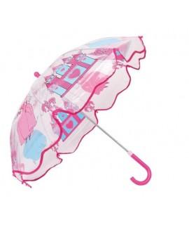 Parapluie transparent princesse. Mesures: 56x70 cm.