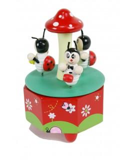 Caja de música con animalitos de madera juguete infantil