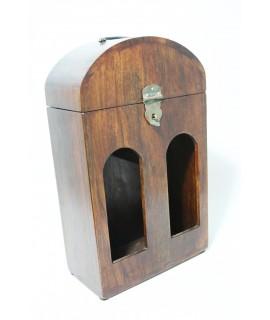 Botellero de madera de acacia para dos botellas de vino.