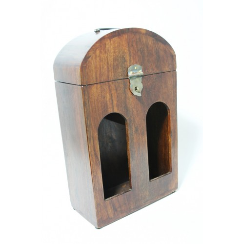 Caja botellero doble en madera maciza de acacia caja para dos botellas de vino estilo rustico