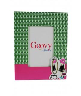 Marco foto infantil de madera con color rosa y verde regalo original