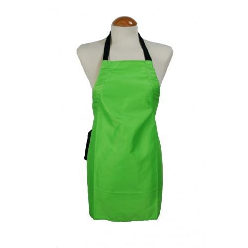 Delantal infantil color verde. Medidas totales: 65x50 cm