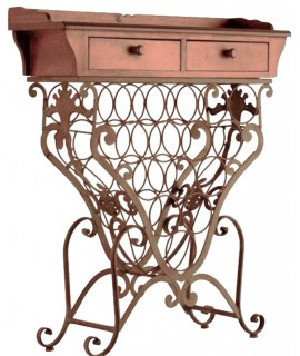 Mueble auxiliar botellero madera y forja estilo rustico. Medidas: 82x33x72 cm.