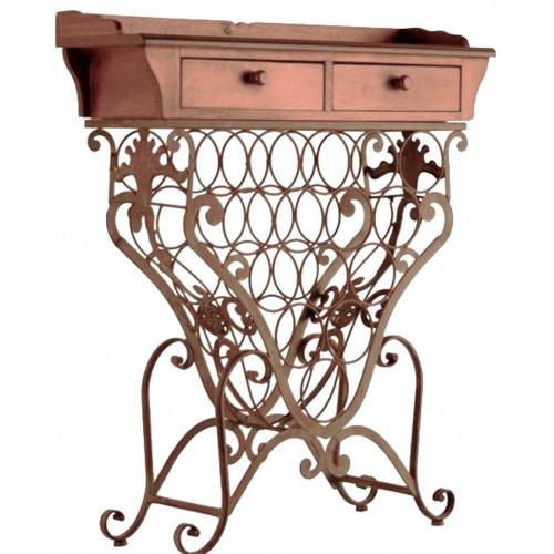 Mueble auxiliar botellero madera y forja estilo rustico