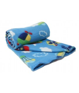 Manta suave Infantil bebé color azul estampado para cuna