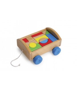 Caixa d'arrossegament amb peces de fusta de construcció creativitat