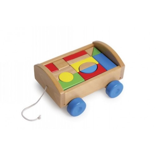 Caja de arrastre con piezas en madera de construcción creatividad