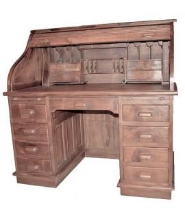 Bureau américain en bois de teck massif. Mesures: 128x125x75 cm.