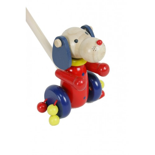 Arrastre de madera perro bolas color rojo. Medidas totales: 15x8x6x cm.